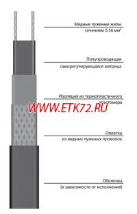 17VR2-T Саморегулирующаяся нагревательная лента